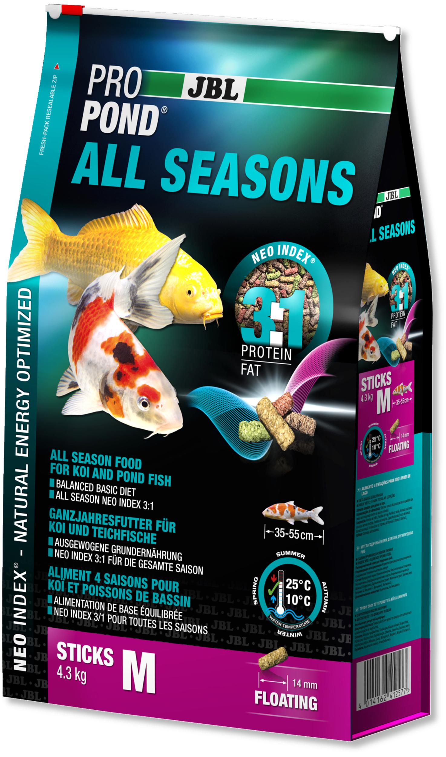 JBL ProPond All Seasons M 4,3 Kg nourriture bâtonnets toutes saisons pour Koïs et autres poissons de bassin de 35 à 55 cm