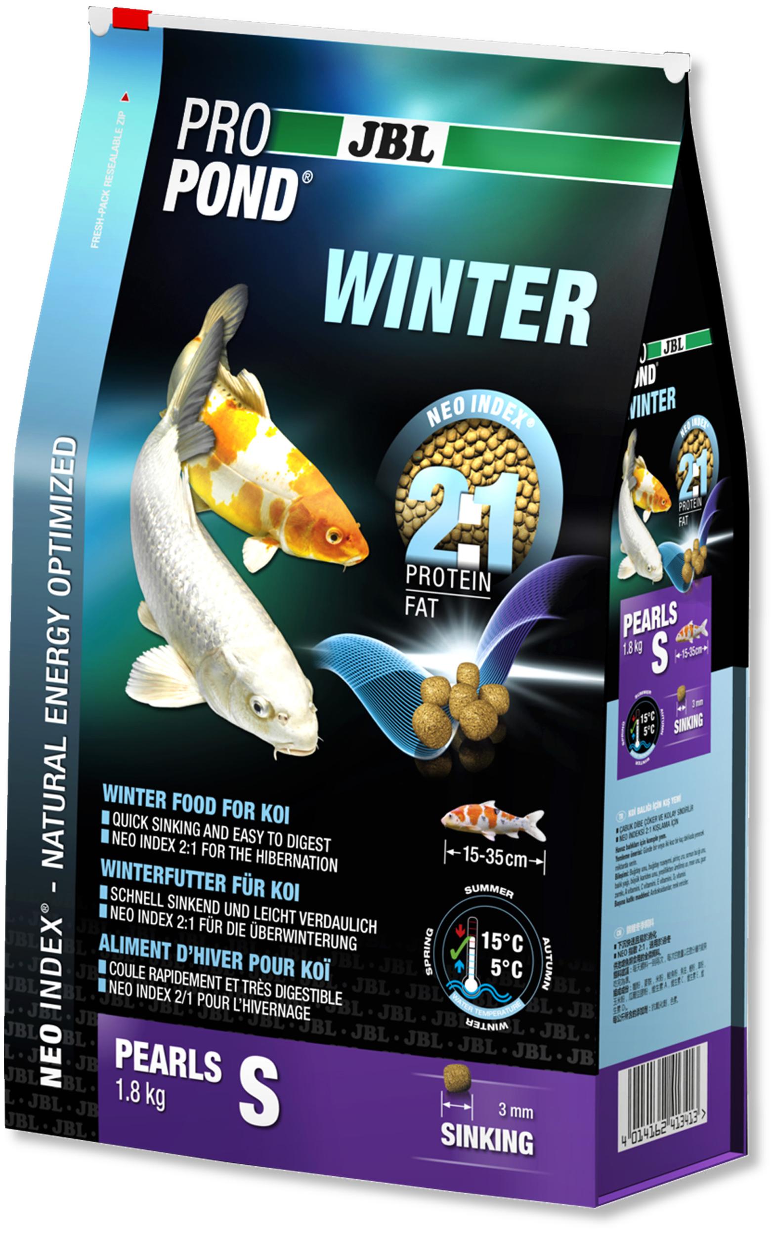 JBL ProPond Winter S 1,8 Kg nourriture granulés d\'hiver pour Koïs de 15 à 35 cm