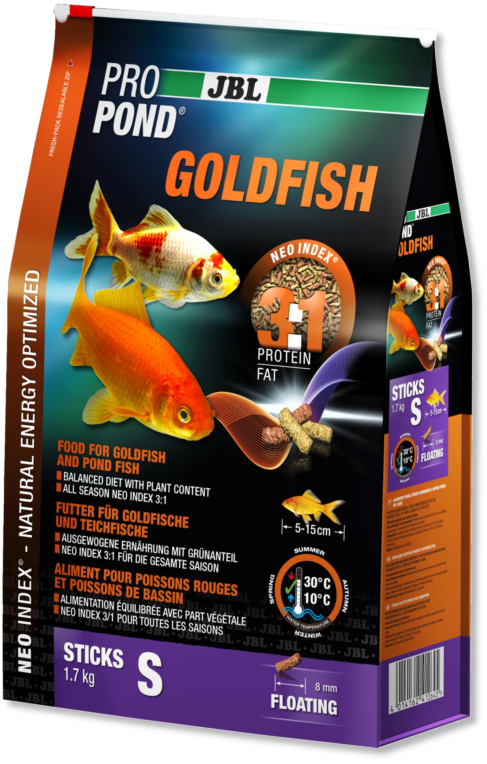 JBL ProPond Goldfish S 1,7 Kg nourriture en bâtonnets pour poissons rouges de 5 à 15 cm