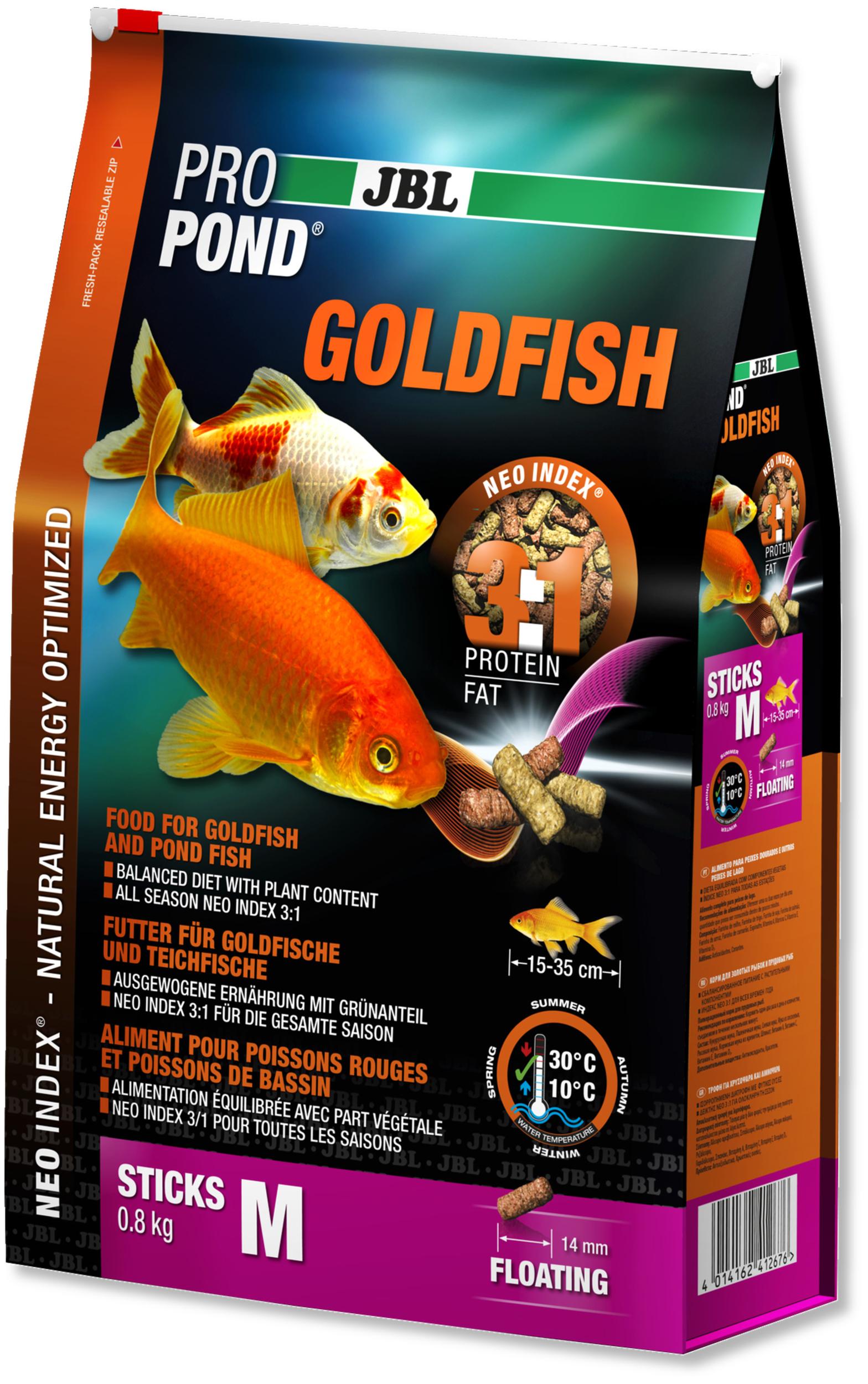 JBL ProPond Goldfish M 0,8 Kg nourriture en bâtonnets pour poissons rouges de 15 à 35 cm