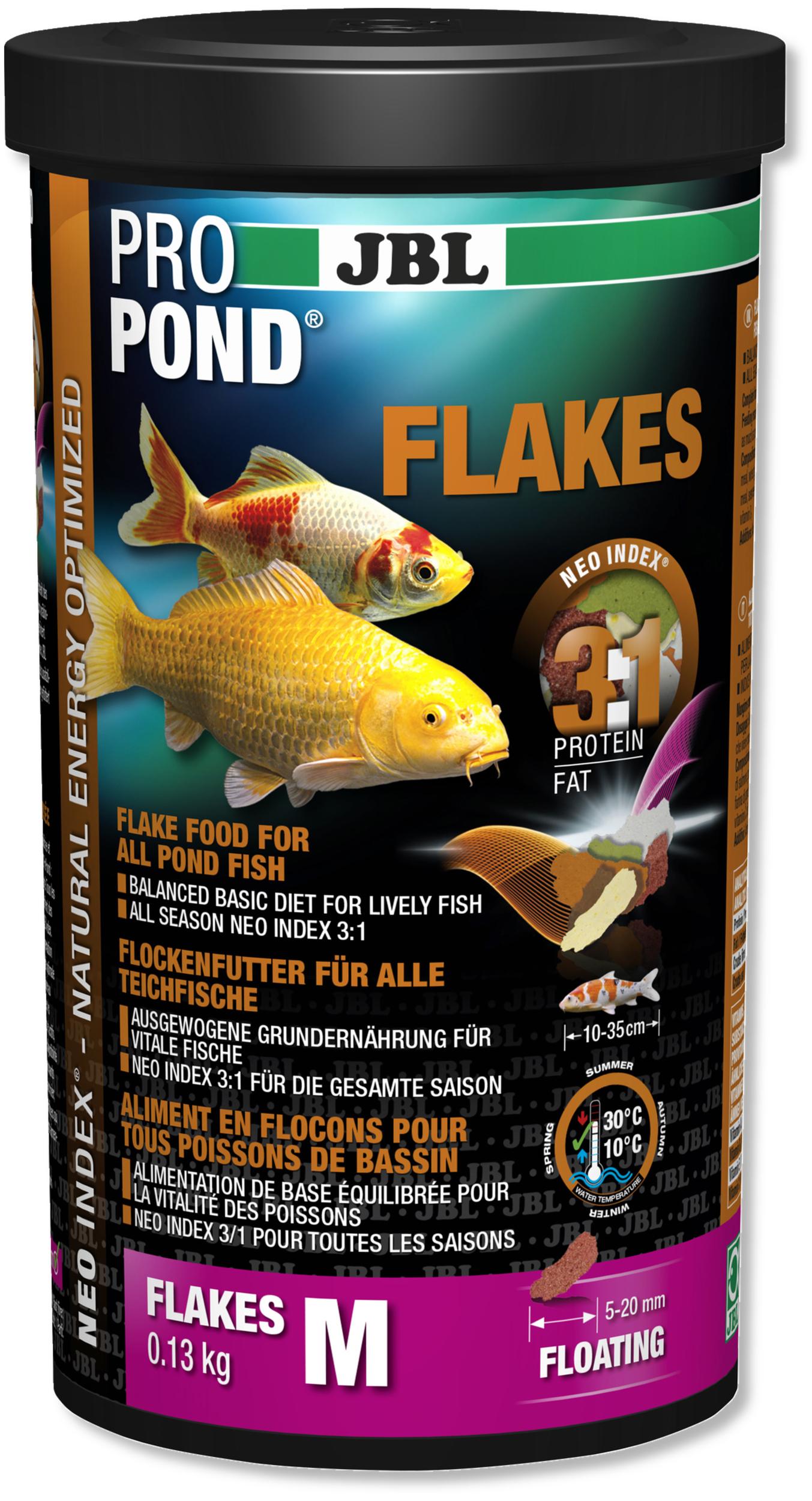 JBL ProPond Flakes M 0,13 Kg nourriture en flocons pour tous poissons de bassin de 10 à 35 cm