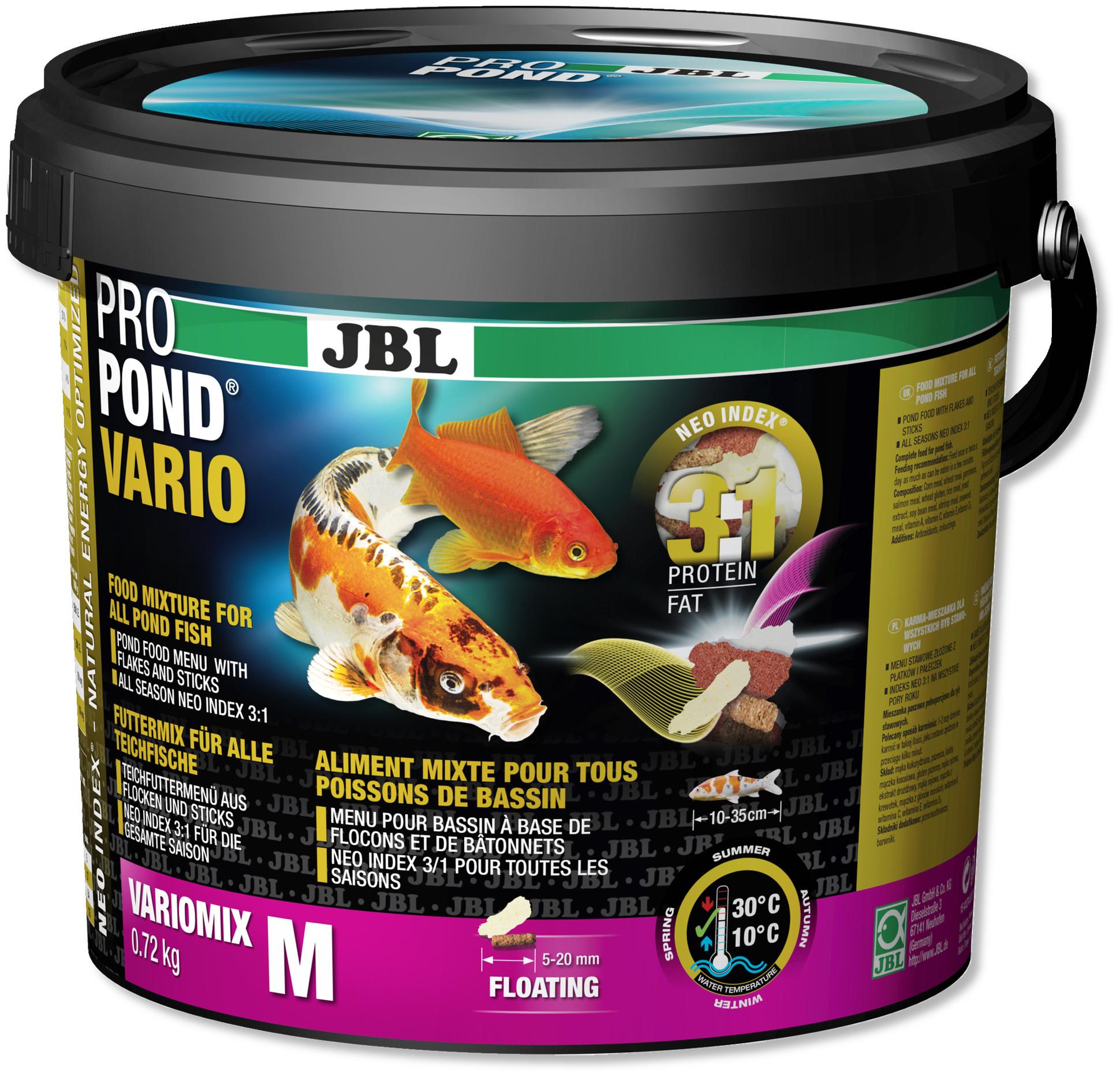 JBL ProPond Vario M 0,72 Kg nourriture avec flocons et bâtonnets pour tous poissons de bassin de 10 à 35 cm