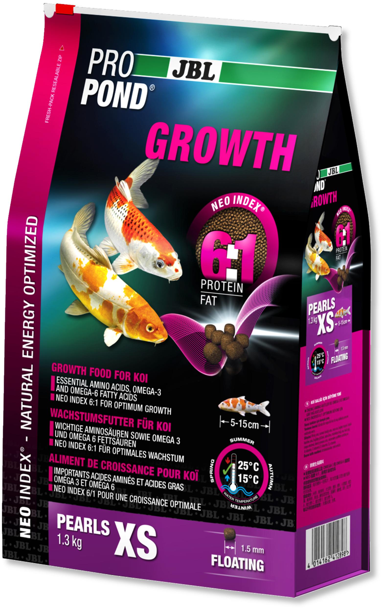 JBL ProPond Growth XS 1,3 Kg nourriture Koïs spéciale croissance sous forme de perles pour poissons de 5 à 15 cm