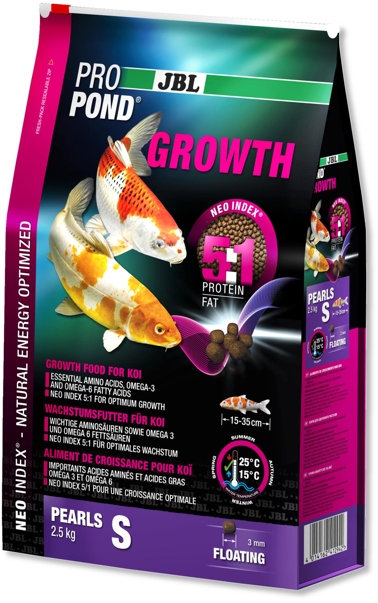 JBL ProPond Growth S 2,5 Kg nourriture Koïs spéciale croissance sous forme de perles pour poissons de 15 à 35 cm
