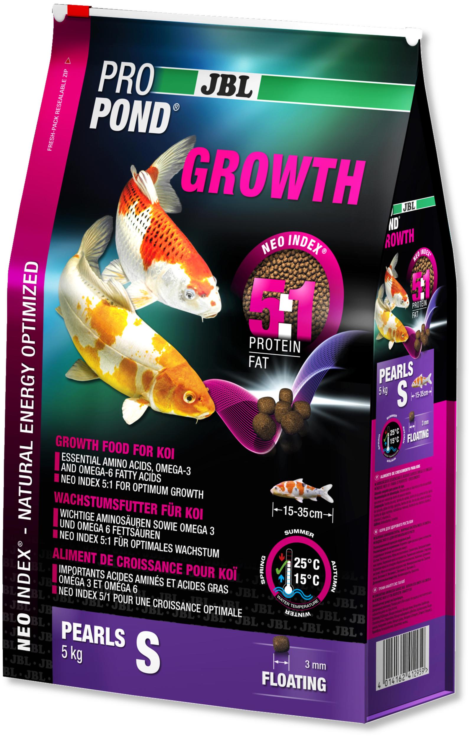 JBL ProPond Growth S 5 Kg nourriture Koïs spéciale croissance sous forme de perles pour poissons de 15 à 35 cm