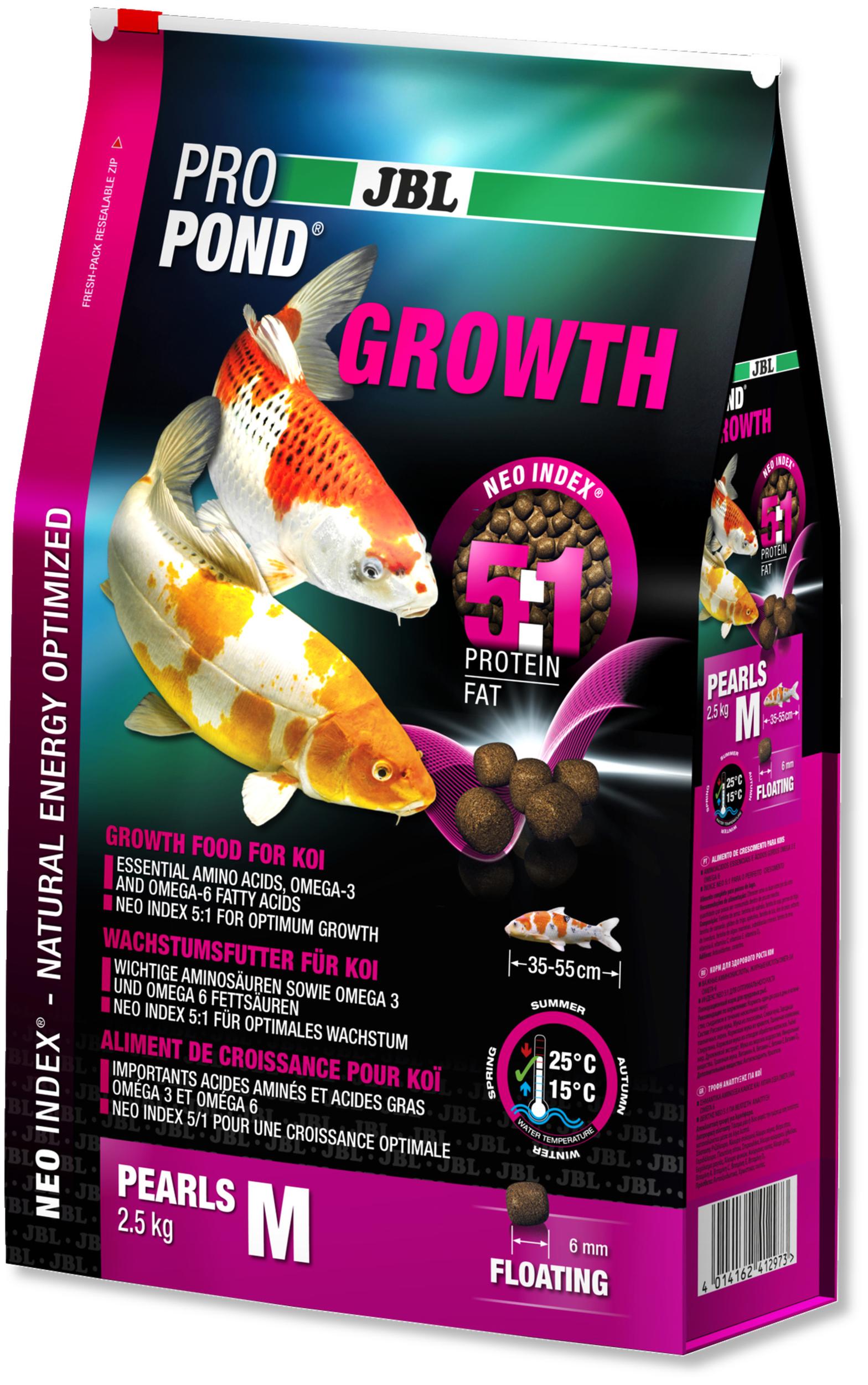 JBL ProPond Growth M 2,5 Kg nourriture Koïs spéciale croissance sous forme de perles pour poissons de 35 à 55 cm