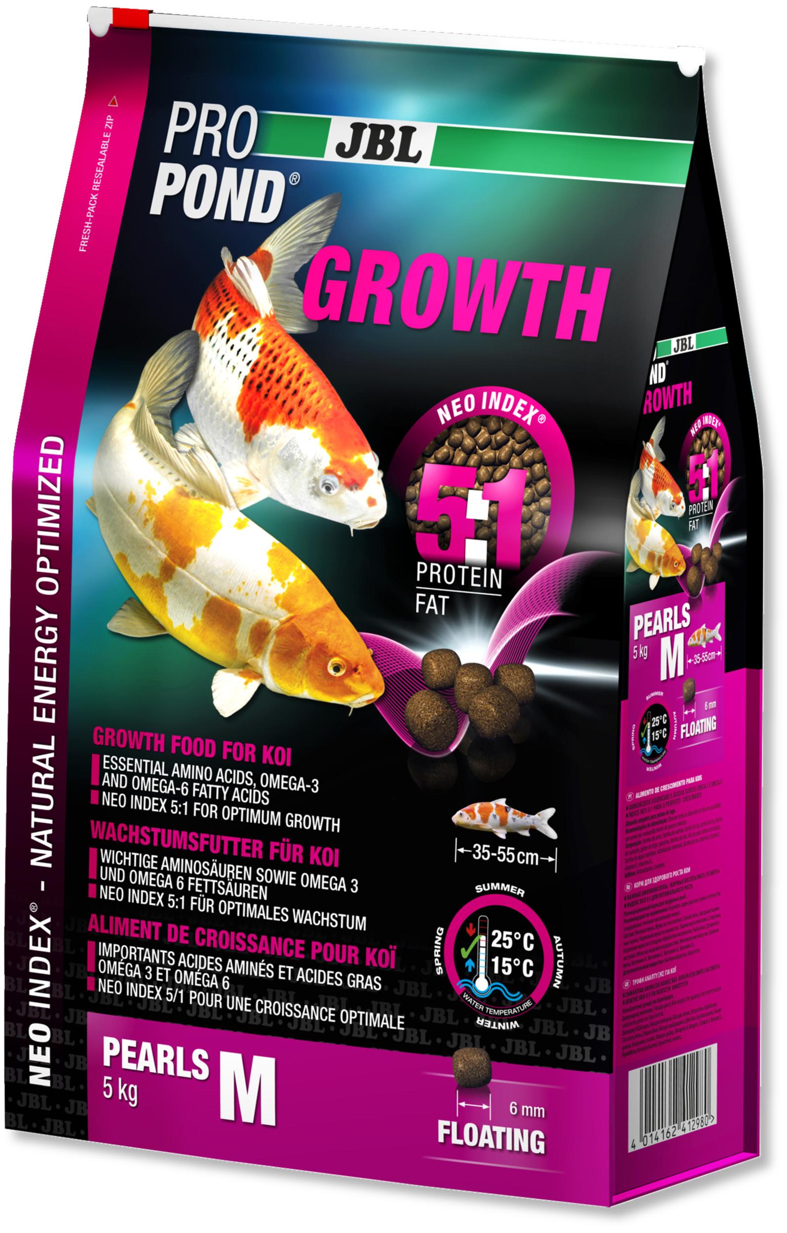 JBL ProPond Growth M 5 Kg nourriture Koïs spéciale croissance sous forme de perles pour poissons de 35 à 55 cm