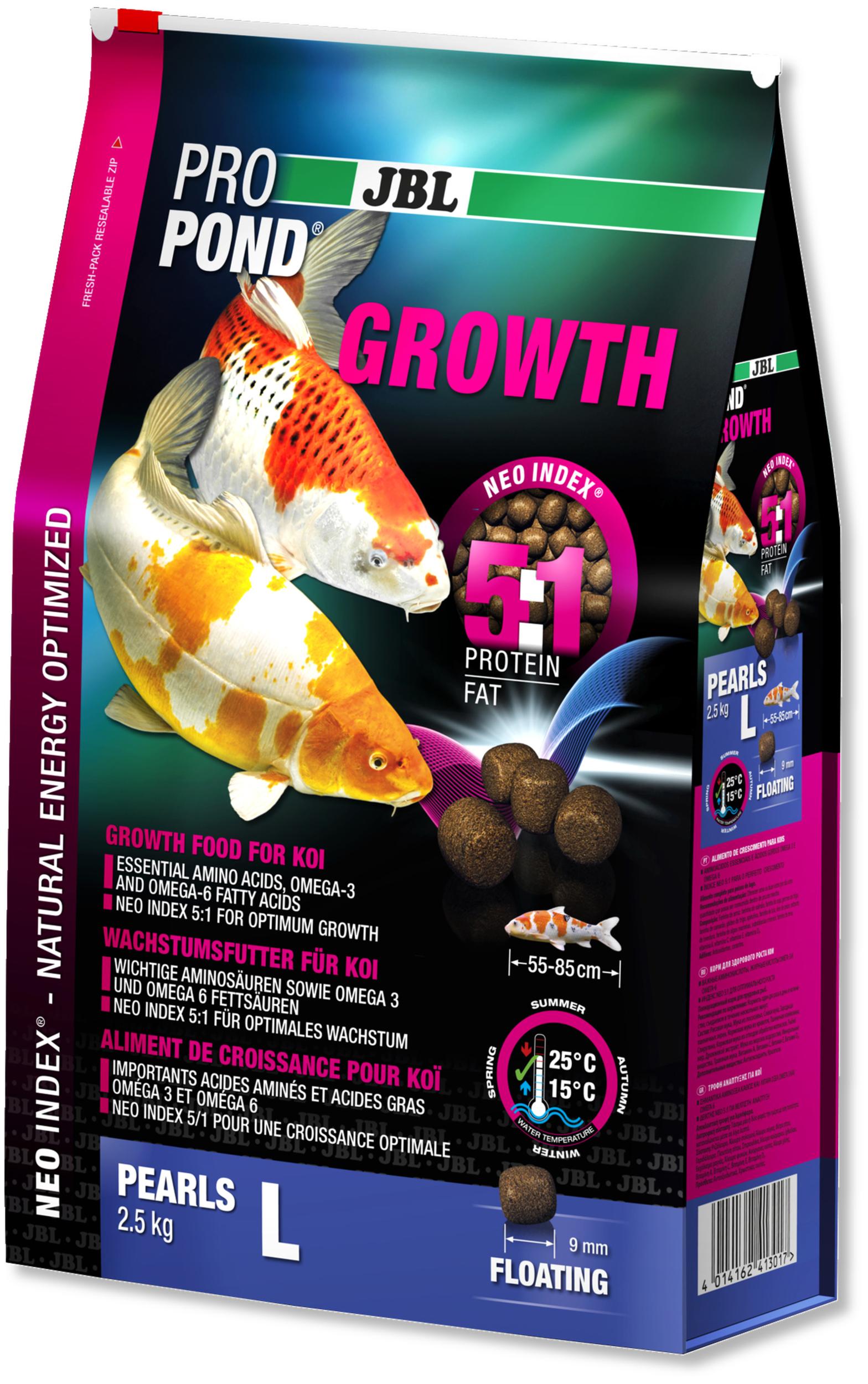 JBL ProPond Growth L 2,5 Kg nourriture Koïs spéciale croissance sous forme de perles pour poissons de 55 à 85 cm