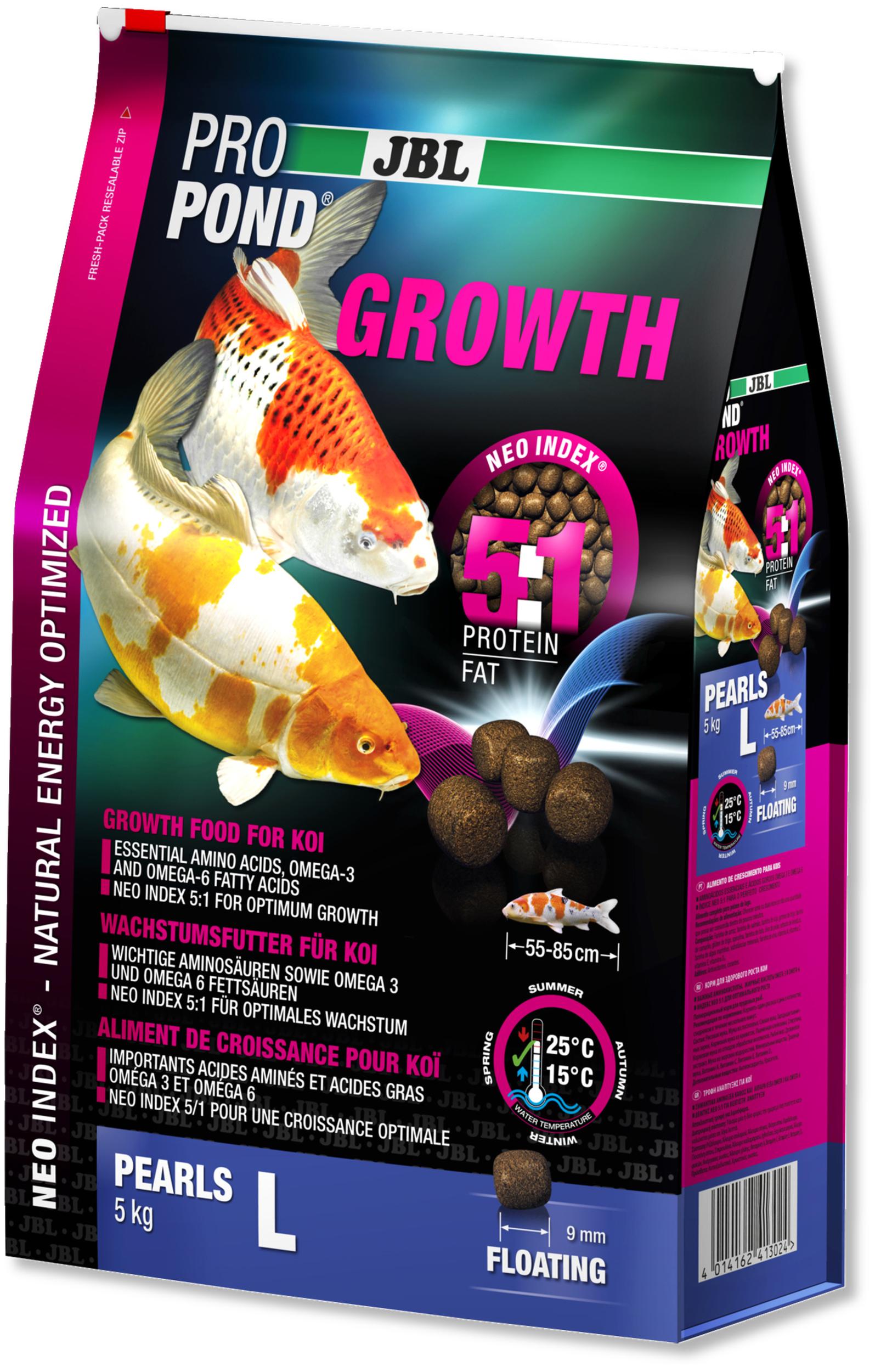 JBL ProPond Growth L 5 Kg nourriture Koïs spéciale croissance sous forme de perles pour poissons de 55 à 85 cm