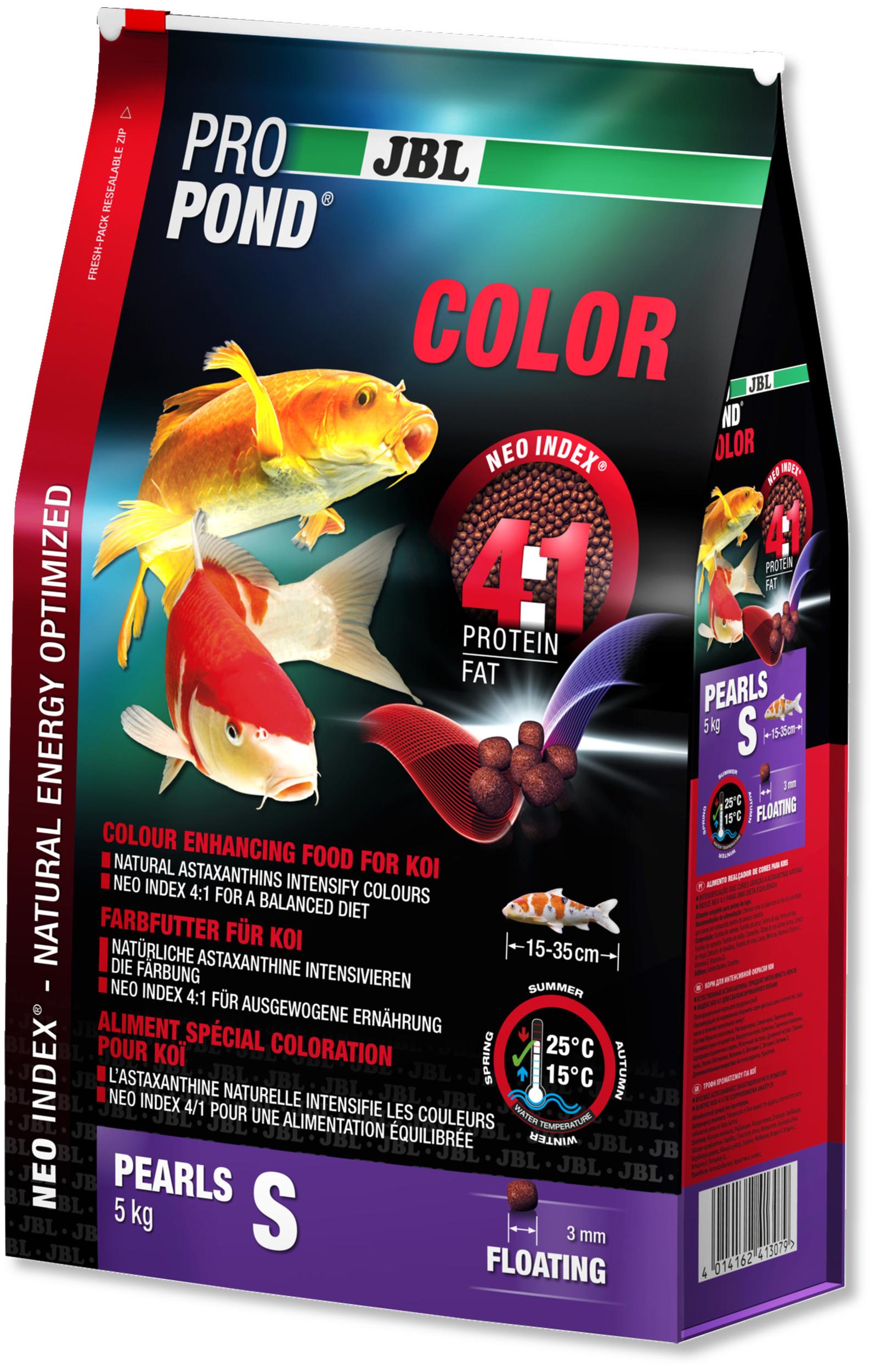 JBL ProPond Color S 5 Kg nourriture Koïs spéciale renforcement des couleurs sous forme de perles pour poissons de 15 à 35 cm
