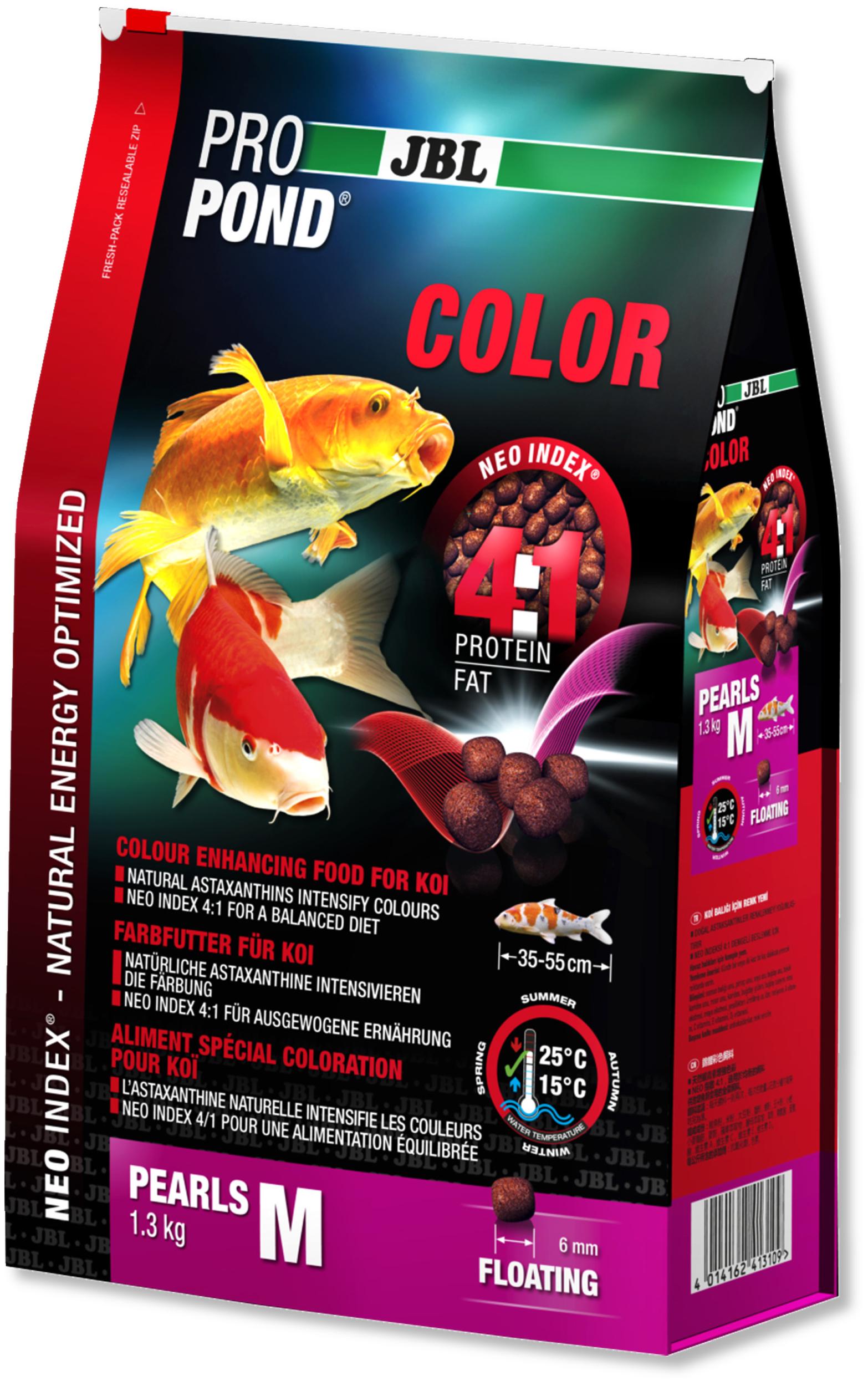 JBL ProPond Color M 1,3 Kg nourriture Koïs spéciale renforcement des couleurs sous forme de perles pour poissons de 35 à 55 cm