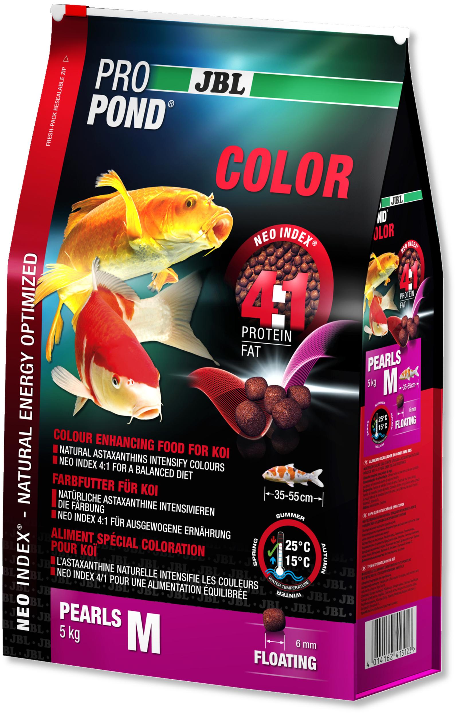JBL ProPond Color M 5 Kg nourriture Koïs spéciale renforcement des couleurs sous forme de perles pour poissons de 35 à 55 cm
