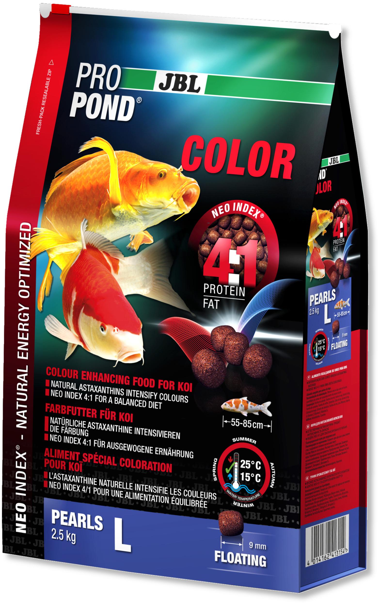 JBL ProPond Color L 2,5 Kg nourriture Koïs spéciale renforcement des couleurs sous forme de perles pour poissons de 55 à 85 cm