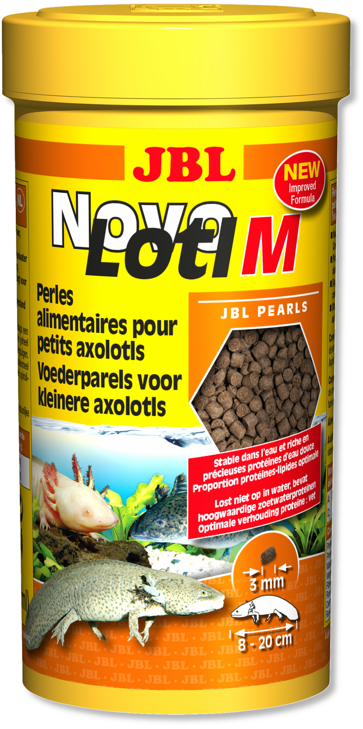 JBL NovoLotl M 250ml perles alimentaires submersibles pour Axolotls de 8 à 20 cm