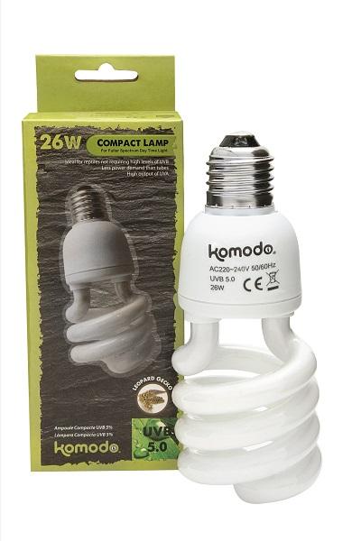 KOMODO Compact Lamp UVB 5.0 ES 26W reproduit la lumière solaire de la forêt avec 5% d\'UVB