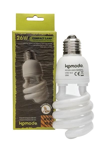 KOMODO Compact Lamp UVB 10.0 ES 26W reproduit la lumière solaire de la forêt avec 10% d\'UVB