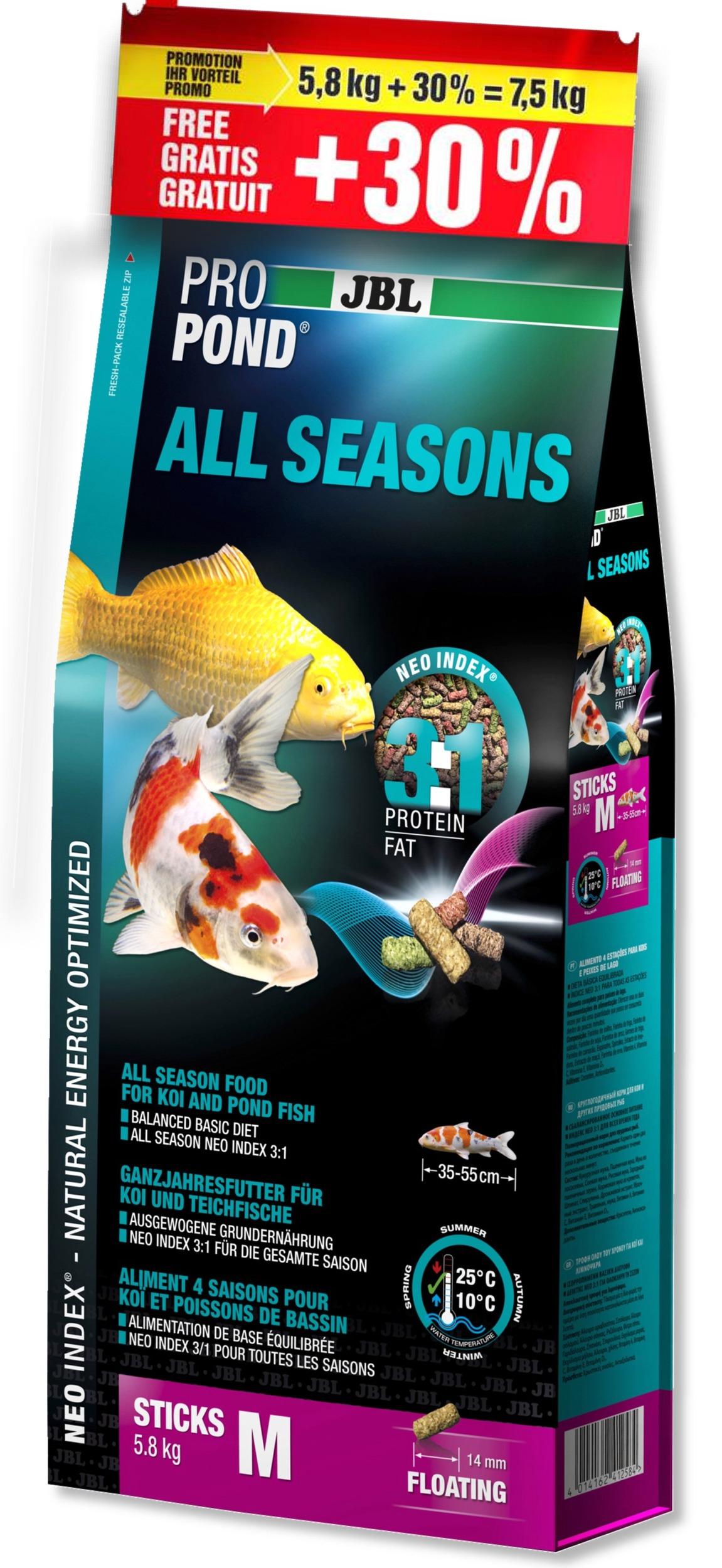 JBL ProPond All Seasons M 7,5 Kg (5,8 Kg + 30% gratuit) nourriture bâtonnets toutes saisons pour Koïs et autres poissons de bassin de 35 à 55 cm