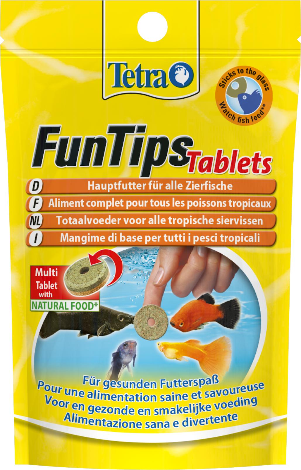 TETRA Fun Tips lot de 20 tablettes de nourriture complète pour poissons tropicaux