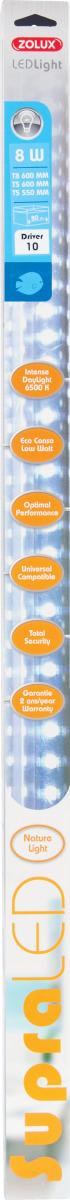 ZOLUX SupraLED 550 tube Leds Eau Douce 8W 6500°K pour aquarium jusqu\'à 80 cm ou remplace T5 55 cm et 59 cm ou T8 60 cm