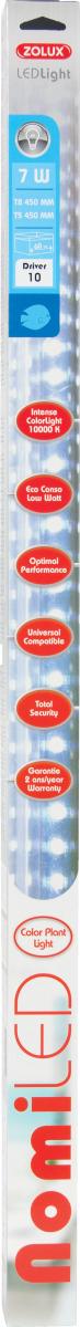 ZOLUX NomiLED 395 tube Leds Eau Douce 7W 10000°K pour aquarium jusqu\'à 60 cm ou remplace T5 43,8 cm et T8 45 cm