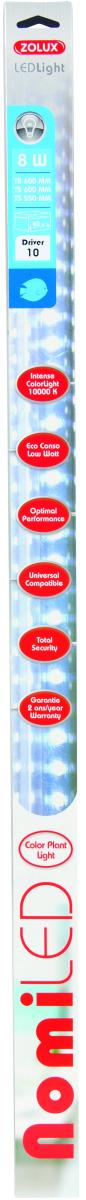 ZOLUX NomiLED 550 tube Leds Eau Douce 8W 10000°K pour aquarium jusqu\'à 80 cm ou remplace T5 55 cm et 59 cm ou T8 60 cm