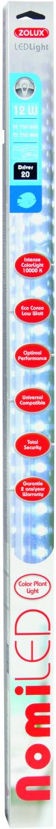 ZOLUX NomiLED 700 tube Leds Eau Douce 12W 10000°K pour aquarium jusqu\'à 100 cm ou remplace T5 74,2 cm et T8 75 cm