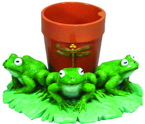 EE921 Lily Pad And Frog Planter copie
