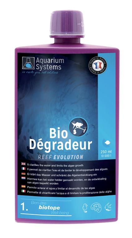 AQUARIUM SYSTEMS BioDégradeur 1. Bien-être biotope Reef Evolution 250 ml bactéries pour le démarrage d\'un aquarium