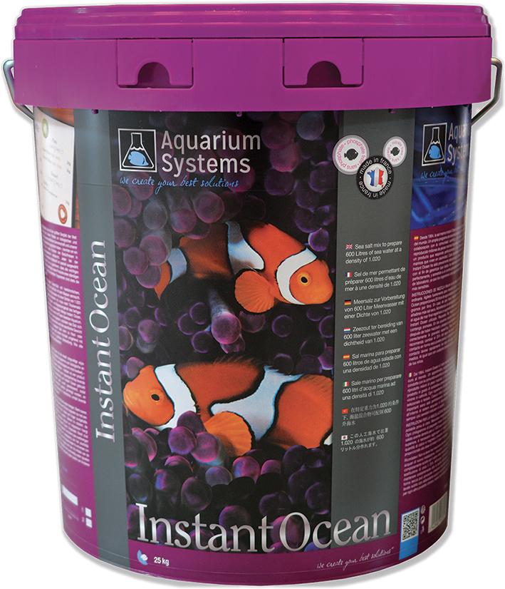 AQUARIUM SYSTEMS Instant Océan 25 kg sel pour aquarium marin sans ou avec peu de coraux. Donne 750L d\'eau de mer