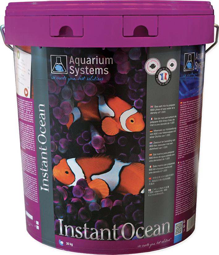 AQUARIUM SYSTEMS Instant Océan 20 kg sel pour aquarium marin sans ou avec peu de coraux. Donne 600L d\'eau de mer