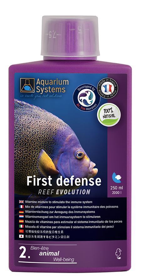 AQUARIUM SYSTEMS First Defense 250 ml anti-stress à base de vitamines stimulant le système immunitaire des poissons marins
