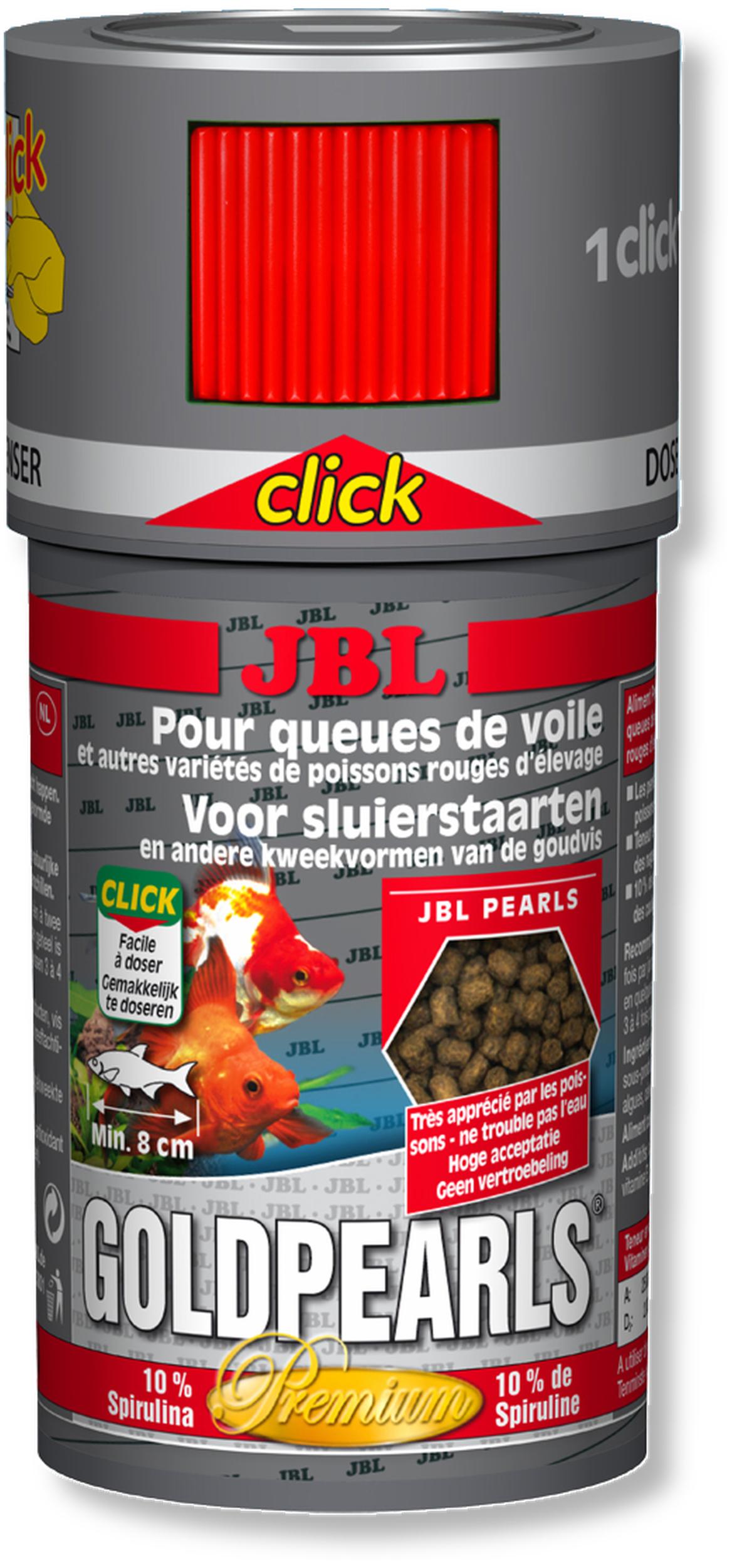 JBL GoldPearls Click 100 ml nourriture en granules pour poissons d\'eau froide avec doseur