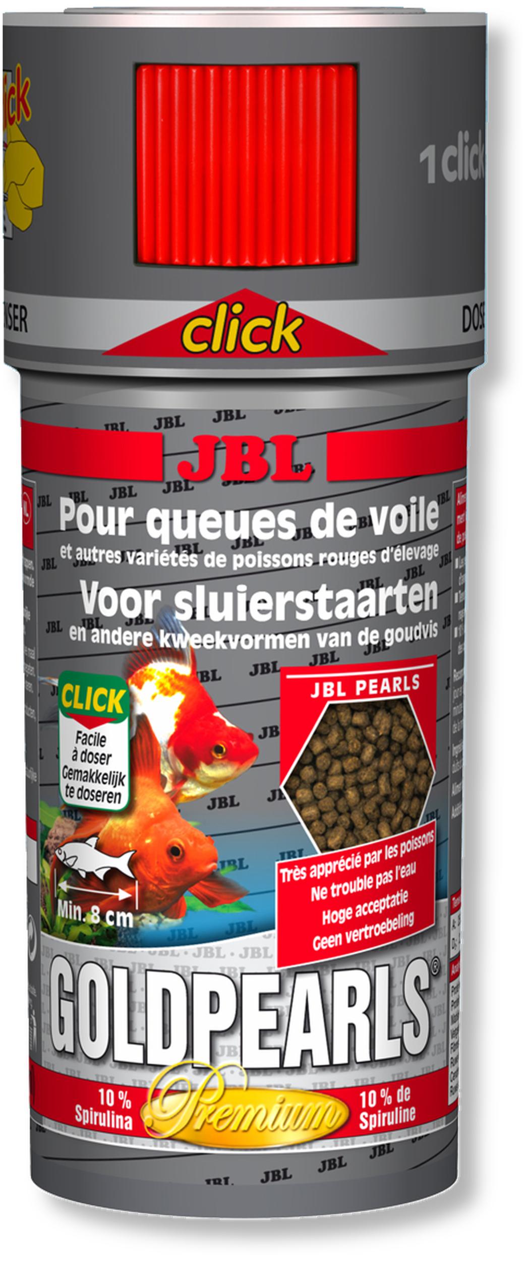 JBL GoldPearls Click 250 ml nourriture en granules pour poissons d\'eau froide avec doseur
