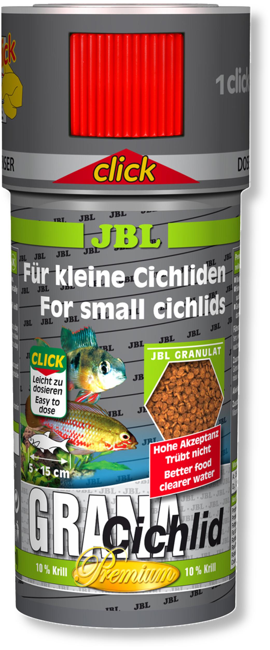 JBL Grana Cichlid Click 250 ml nourriture premium en granulés pour cichlidés carnivores avec doseur