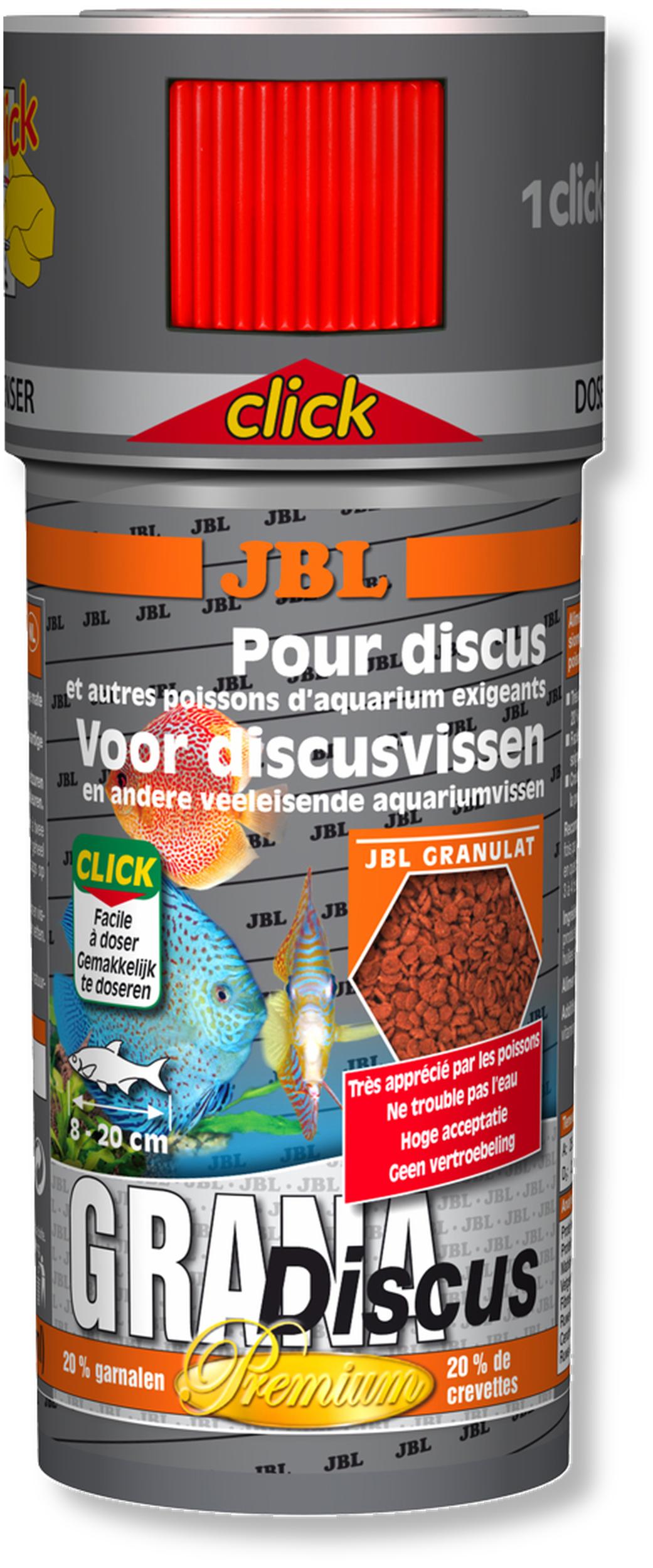JBL Grana Discus Click 250 ml nourriture prémium en granulés pour Discus avec doseur