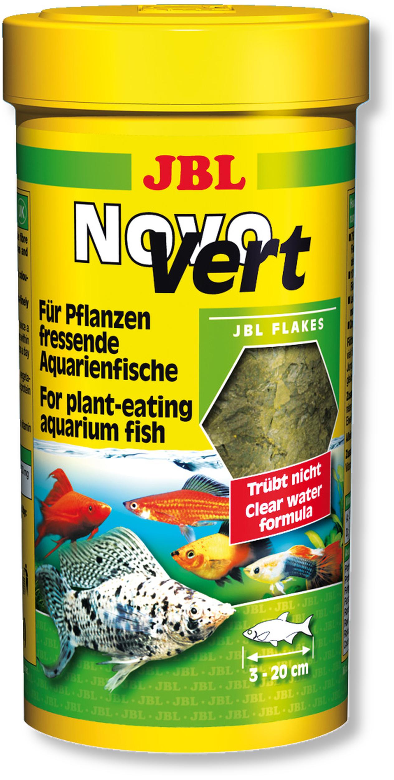 JBL Novo Vert 250 ml flocons de spirulines au plancton pour poissons herbivores