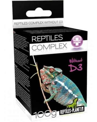 REPTILES PLANET Reptiles Complex sans D3 100 gr. complément alimentaire vitaminé avec 22% de calcium pour lézards, tortues et amphibiens