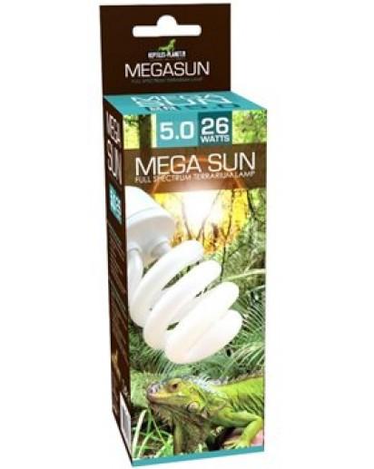 REPTILES PLANET Mega Sun UVB 5.0 ampoule flucompacte 26W avec 5% d\'UV-B et 30% d\'UV-A pour reptiles et amphibiens