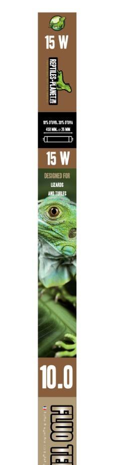 REPTILES PLANET Terra Sunlight 10.0 tube néon T8 15W 45 cm avec 10% d\'UV-B et 30% d\'UV-A pour tortues et lézards