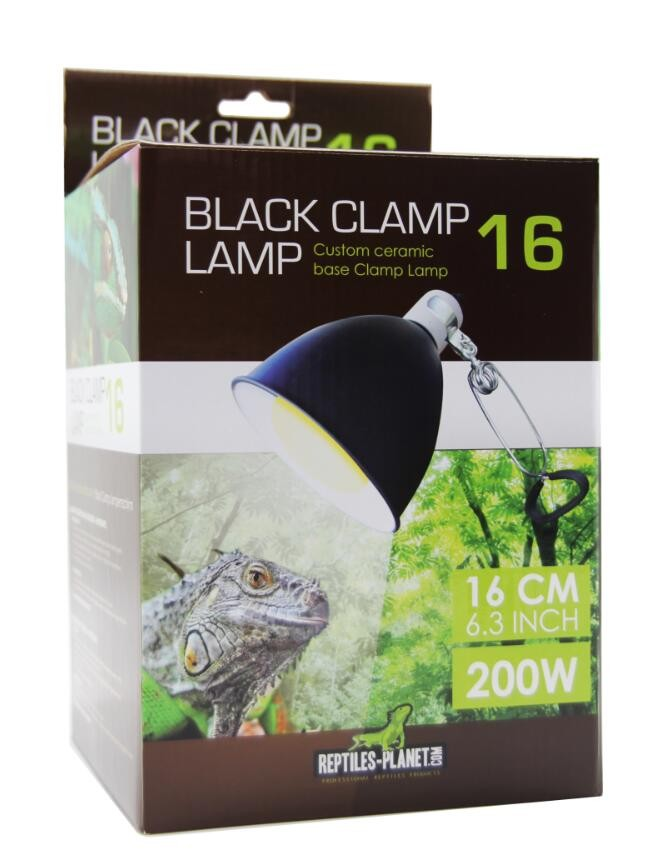 REPTILES PLANET Black Clamp 16 support complet diamètre 16 cm pour ampoule jusqu\'à 200W avec douille E27