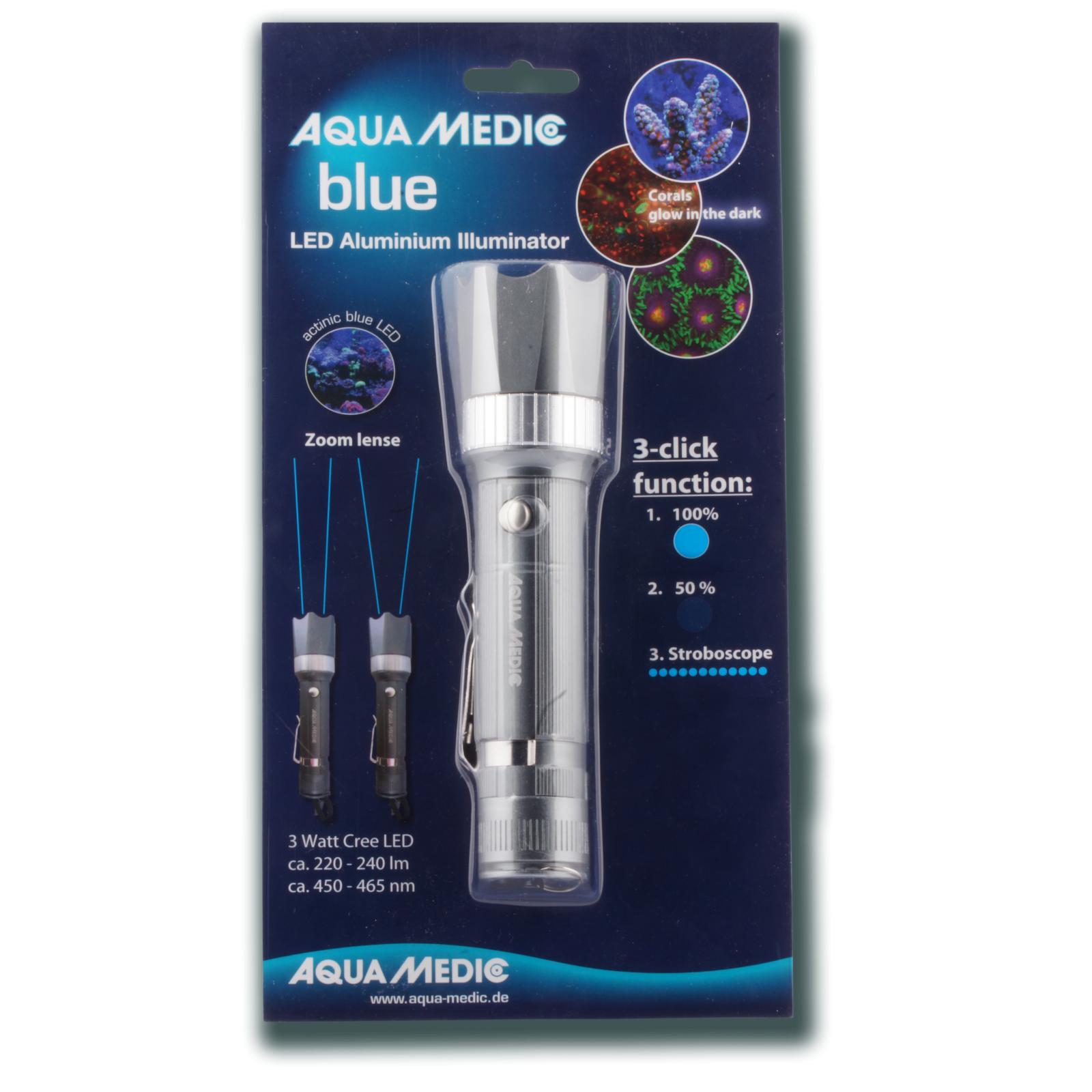 AQUA MEDIC Blue lampe de poche en aluminium avec LED permettant de mettre en évidence la fluorescence des coraux