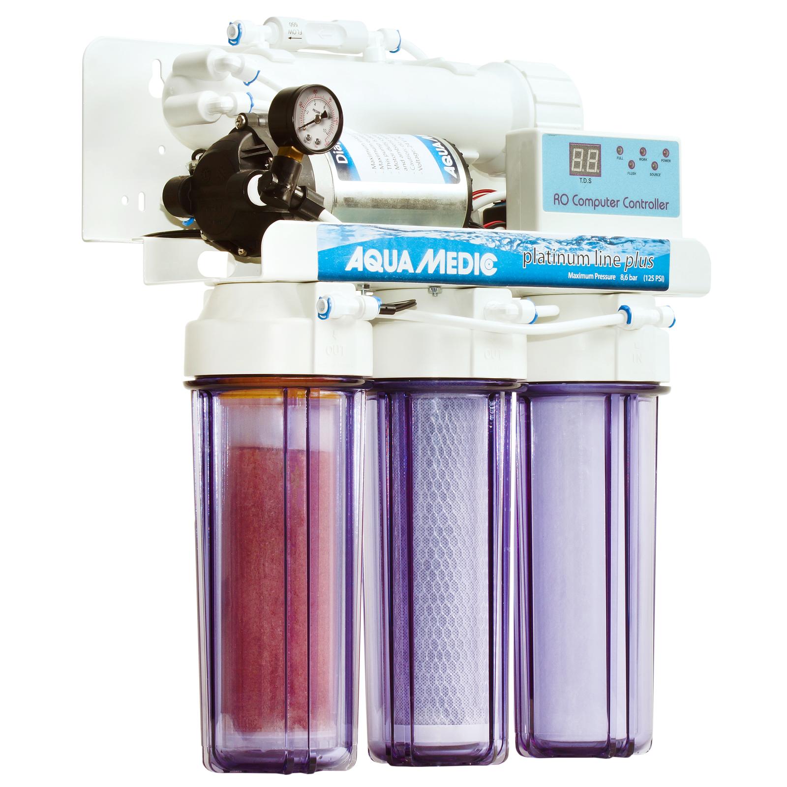 AQUA MEDIC Platinum Line Plus station d\'osmose inverse 400 L/j avec pompe booster, contrôleur électronique et accessoires