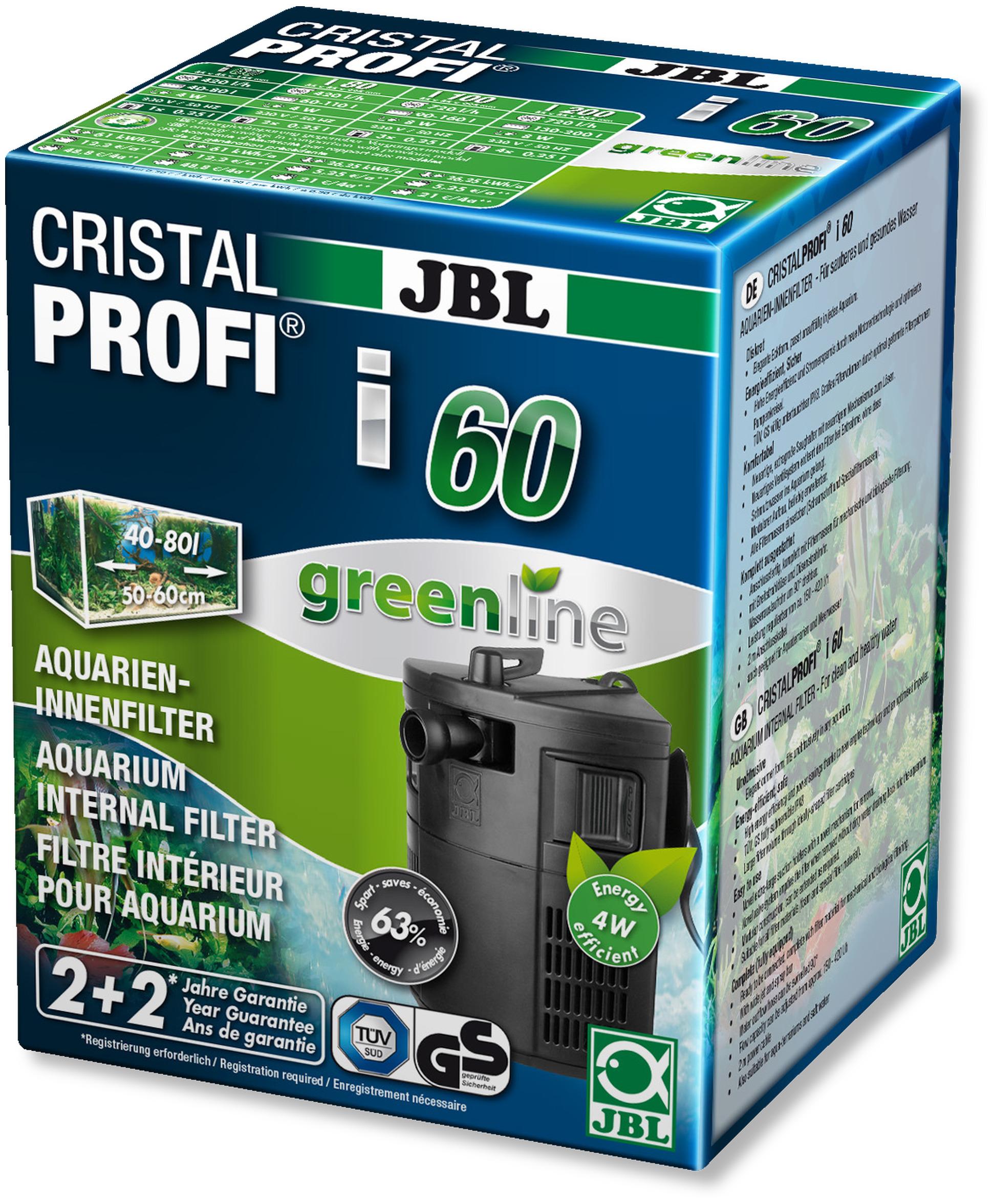 Filtre interne JBL CristalProfi i60 Greenline pour aquarium de 40 à 80L