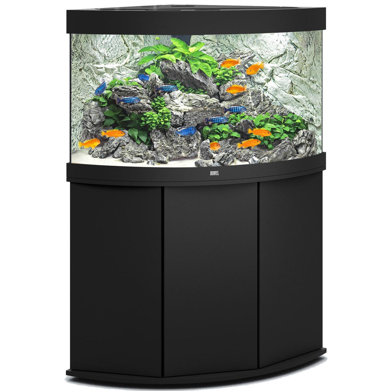 aquarium-angle-juwel-trigon-190-LED-tout-equipe-noir-avec-meuble
