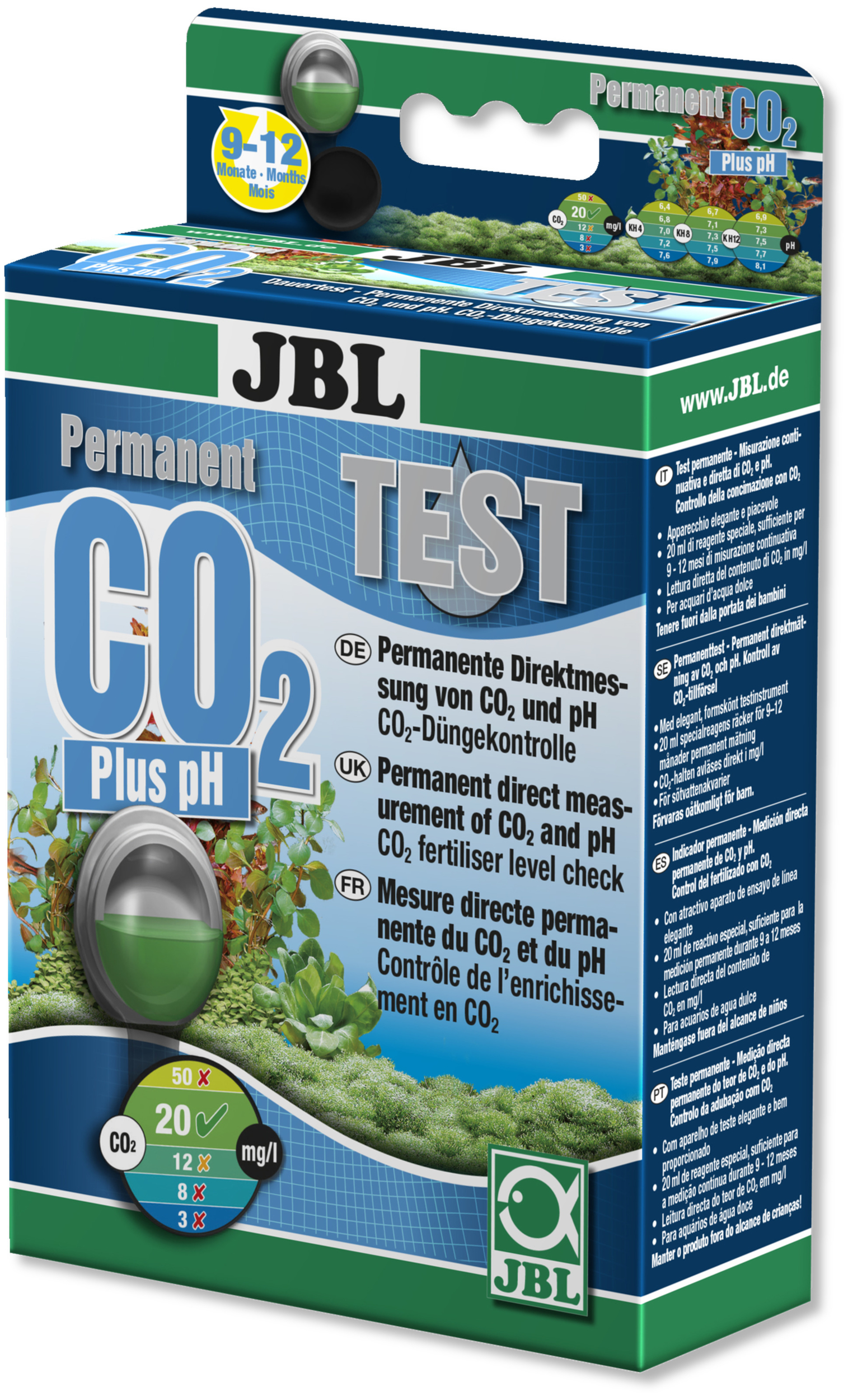 JBL Test CO2 et pH Permanent V2 pour la mesure du taux de dioxyde de carbone et de pH en aquarium