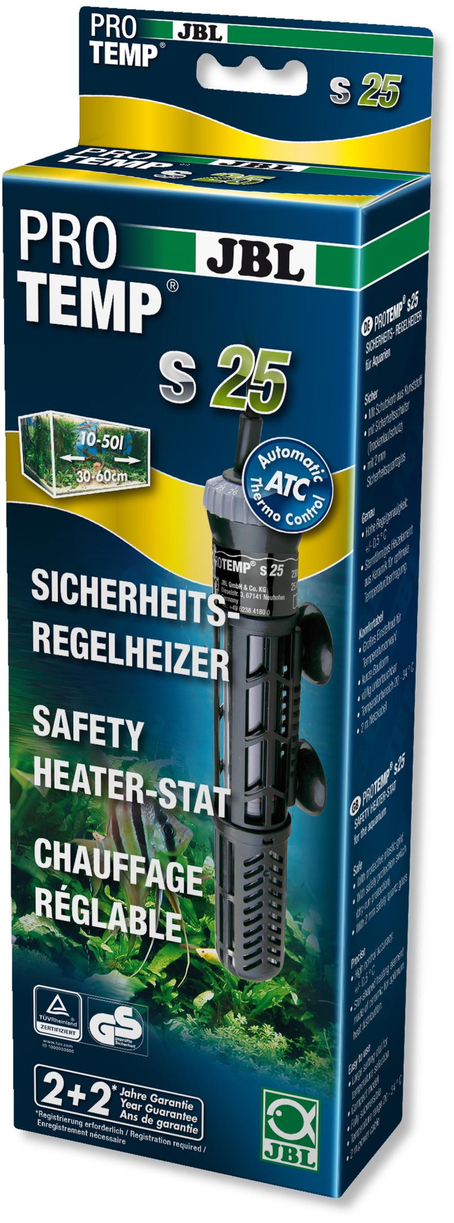 JBL ProTemp S 25W chauffage avec protection anti-brûlure pour aquarium entre 10 et 50 L
