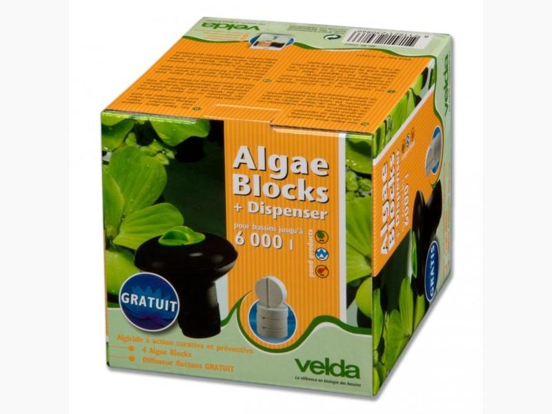 VELDA Algae Block + Dispenser 4 pastilles algicide anti-eau verte longue durée d\'action avec diffuseur pour bassin jusqu\'à 6000 L