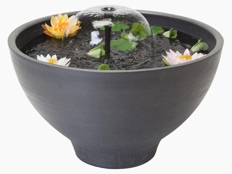 VELDA Fountain Pond diamètre 55 cm mini bassin rond pour balcon, jardin, terrasse et intérieur