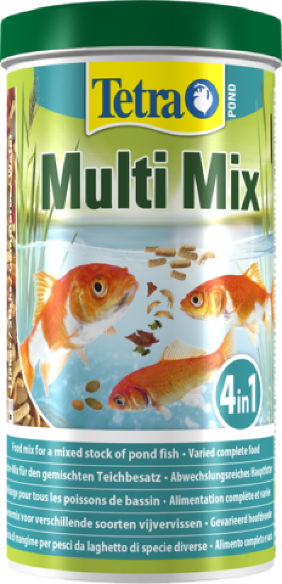 TETRA Pond MultiMix 1L aliment complet composé de flocons, sticks, petits disques nutritifs et gammarus pour tous poissons de bassin