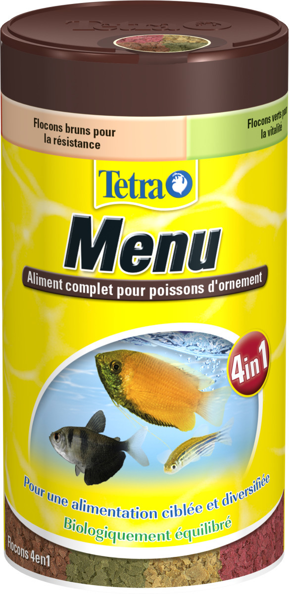 TETRA Menu 250 ml 4 nourritures en flocons dans une seule boite pour tous poissons